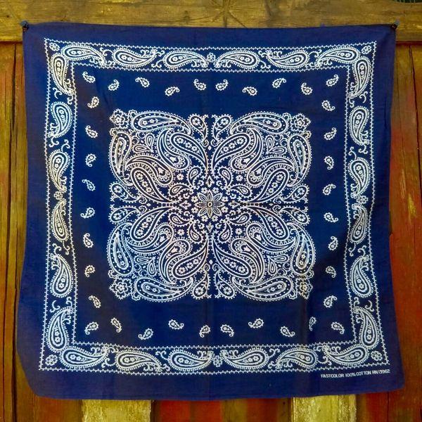 SOLD VINTAGE INDIGO BLUE BANDANNA # 1
