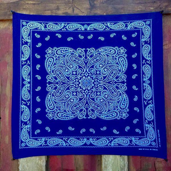 SOLD VINTAGE INDIGO BLUE BANDANNA # 3