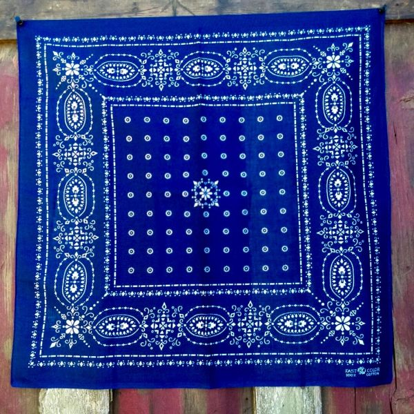 SOLD VINTAGE INDIGO BLUE BANDANNA # 4