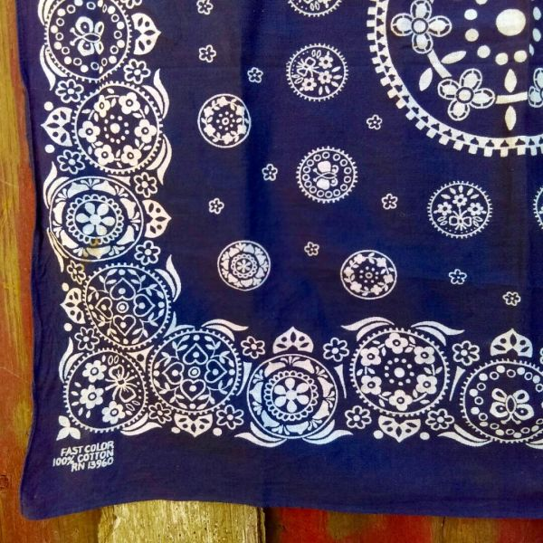 SOLD VINTAGE INDIGO BLUE BANDANNA # 6