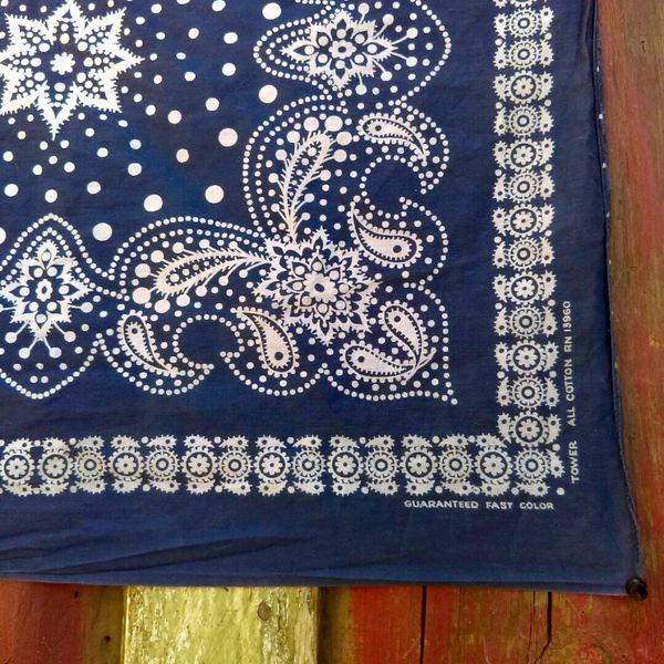 SOLD VINTAGE INDIGO BLUE BANDANNA # 9