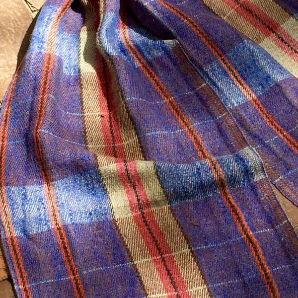 PURPLE TARTAN PLAID RUSSIAN WOVEN LINEN SCARF