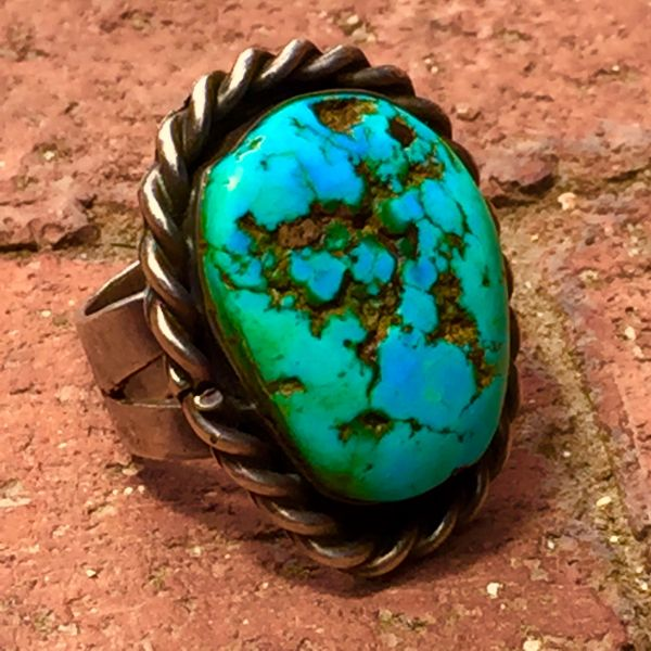 SOLD 1940's ENORMOUS TURQUOISE NUGGET & INGOT SILVER MENS BANDANNA SLIDER