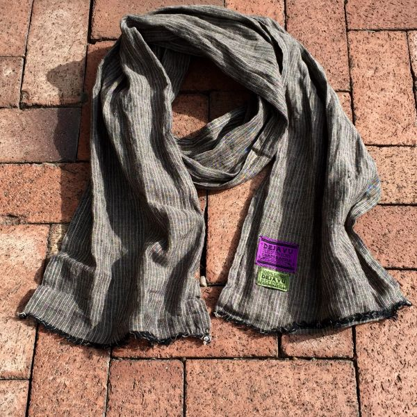 BLACK, TAN & CREAM LINEN SCARF