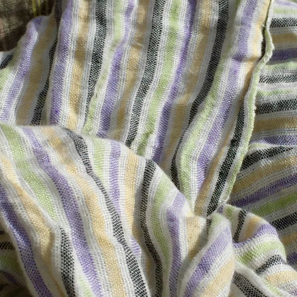 WHITE, YELLOW, LAVENDER & BLACK STRIPED LINEN SCARF