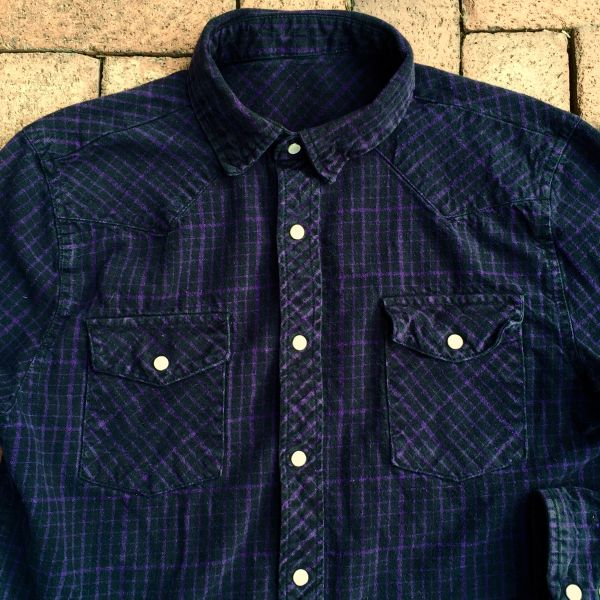 THICK FLANNEL PLAID BLACK & PURPLE PEARL SNAP WESTERN SHIRT