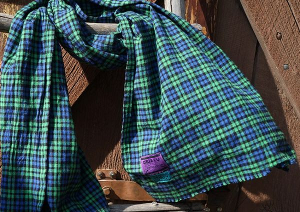 SOLD WIDE FLANNEL BLUE, GREEN & BLACK TARTAN PLAID