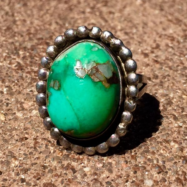 SOLD 1930's KINGMAN TURQUOISE & QUARTZ SILVER RING with PAWNED VALUE ETCHED IN