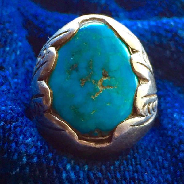 SOLD 1940s VIVID BLUE TURQUOISE SUN STAMPED DAN SIMPLICIO SILVER RING