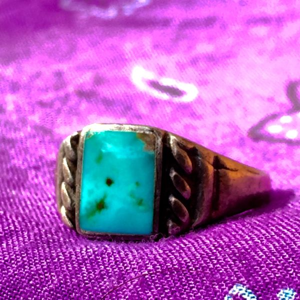 SOLD 1910s SQUARE INGOT ROPE SILVER TURQUOISE RING