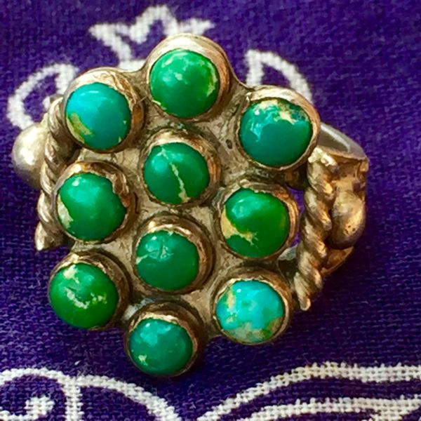 SOLD 1920s INGOT SILVER AMERICAN 10 STONE TURQUOISE RING