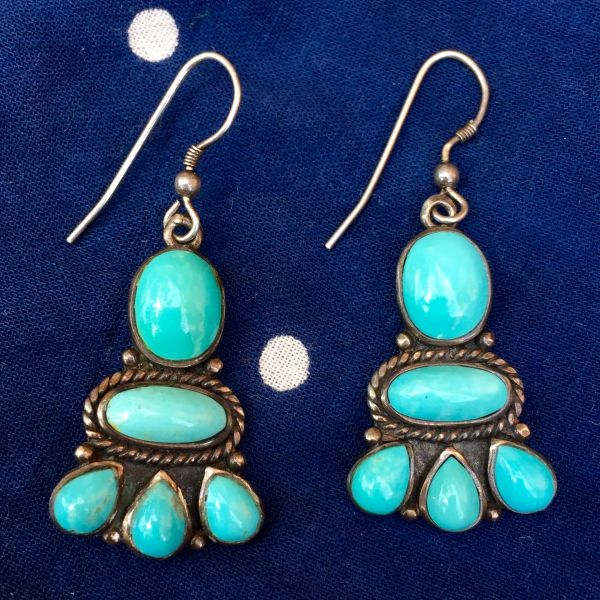 SOLD 1920s REPRODUCTION SIGNED FINE 1970s TURQUOISE SILVER EARRINGS