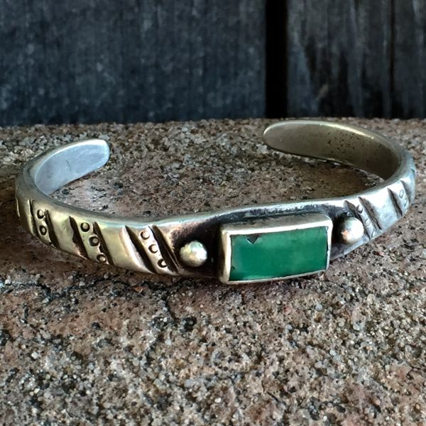 SOLD 1880s GREEN INGOT SILVER CUFF TURQUOISE FILED & CHISELED PRE-STAMPS