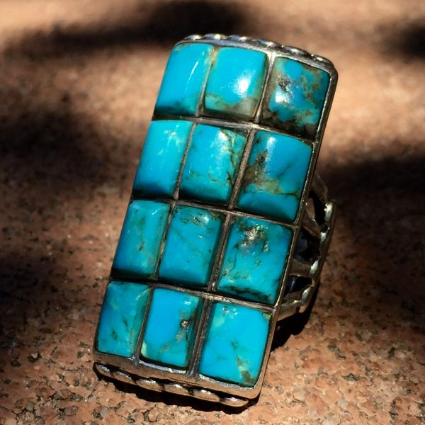 SOLD 1940s AMERICAN SANDCAST SILVER 12 STONE TURQUOISE FINGER LONG RING