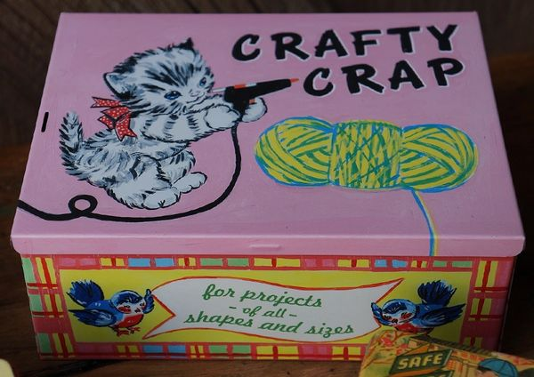 SOLD CRAFTY CRAP STASH BOX TIN