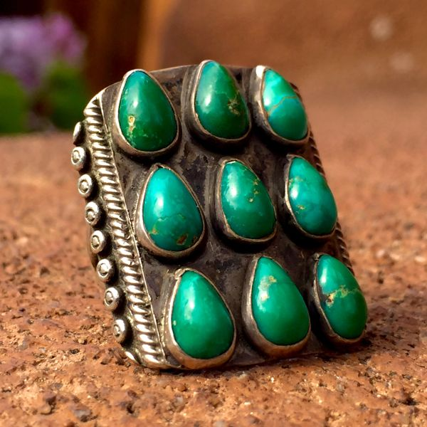 SOLD 1920s RAINDROP 12 STONE TURQUOISE RING