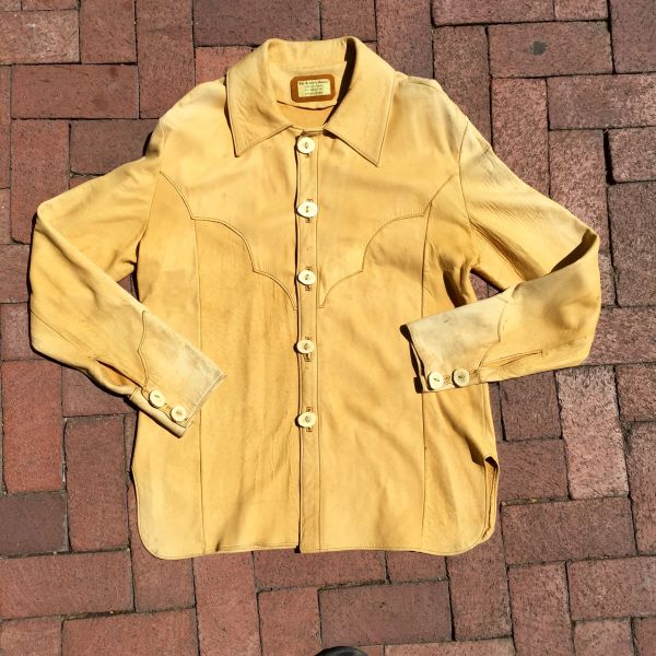 SOLD 1970s DEERSKIN SUN FADED WESTERN SHIRT WITH ANTLER BUTTONS