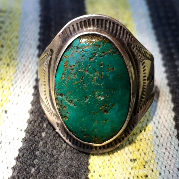 SOLD 1940s TURQUOISE SILVER STAMPED FRED HARVEY ERA MENS RING