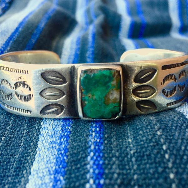 SOLD 1890s CHRYSOCOLLA EARLY FILE STAMPED INGOT SILVER CUFF BRACELET
