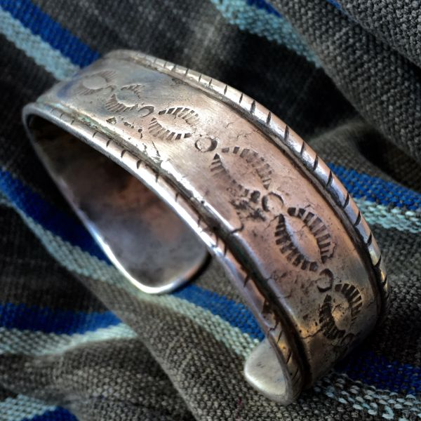 SOLD 1880s MUSEUM WORTHY INGOT SILVER EARLY STAMPED CUFF with ORIGINAL MAKER'S REPAIR
