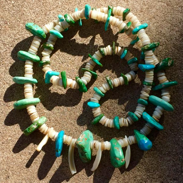SOLD 1850s TURQUOISE TAB BEAD & HEISHI SHELLS ALL PUMP DRILLED
