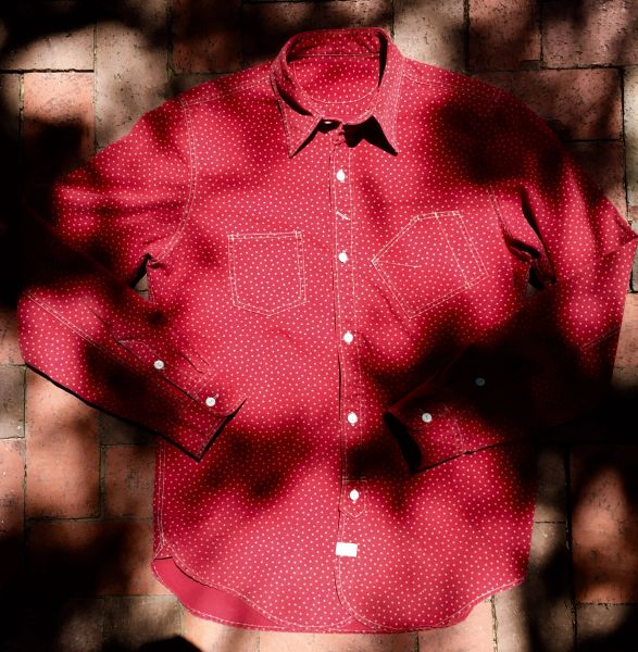 SOLD WELL WORN, FADED, MARKED UP RRL JAPANESE FABRIC WORK SHIRT