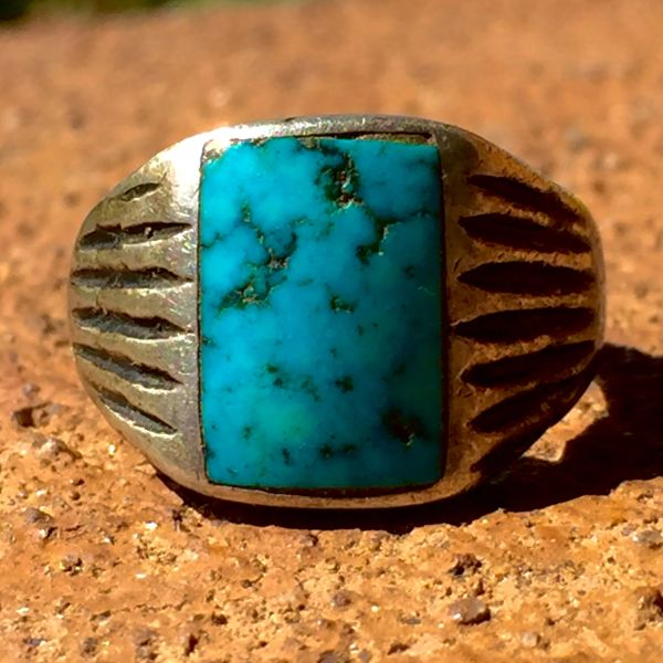 SOLD 1910s INGOT SILVER TURQUOISE CHISELED AMERICAN MENS RING
