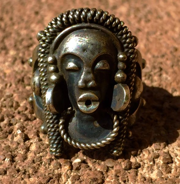 1930s FULANI AFRICAN SILVER WOMAN'S FACE RING