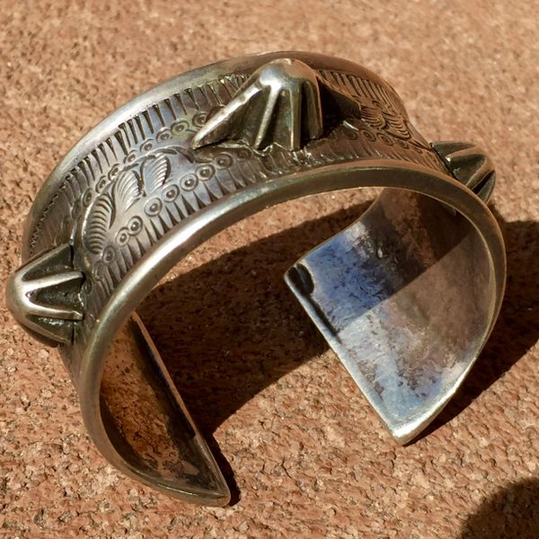 SOLD 1890s INGOT SILVER BEDOUIN SILVER RIVETED CUFF FROM EGYPT