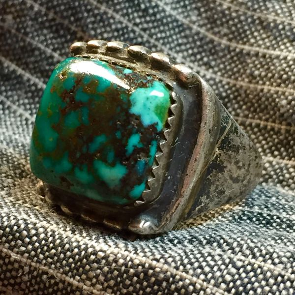 SOLD 1930s SPIDERWEB HARD TURQUOISE SILVER AMERICAN MENS RING