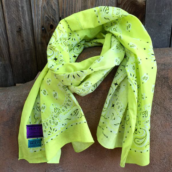 NEON YELLOW BANDANNA SCARF 100% COTTON & SUN FADED ON ONE SIDE