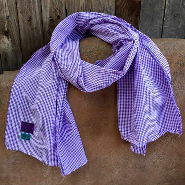 SEERSUCKER & PURPLE GINGHAM SCARF