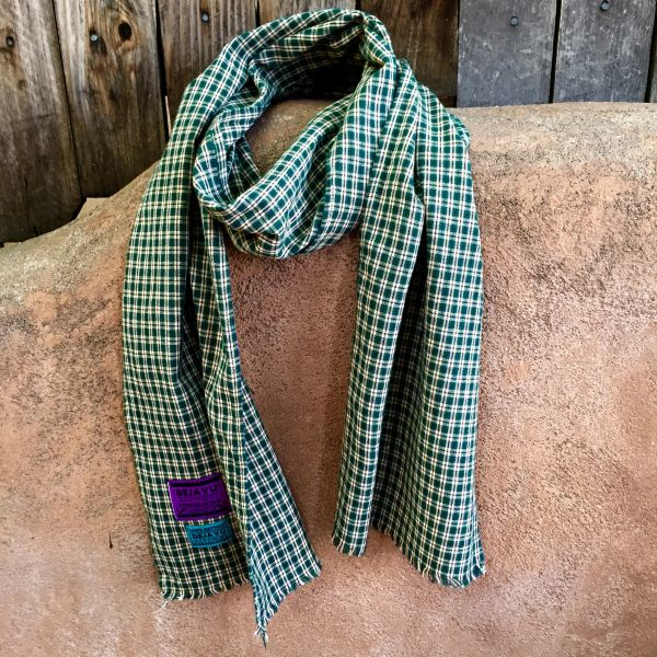 NARROW COTTON WOVEN PLAID TARTAN TAN, NAVY & EMERALD GREEN SCARF
