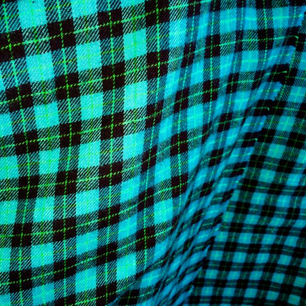 SOLD FLANNEL NEON TURQUOISE, NEON GREEN & BLACK PLAID TARTAN BIG SCARF