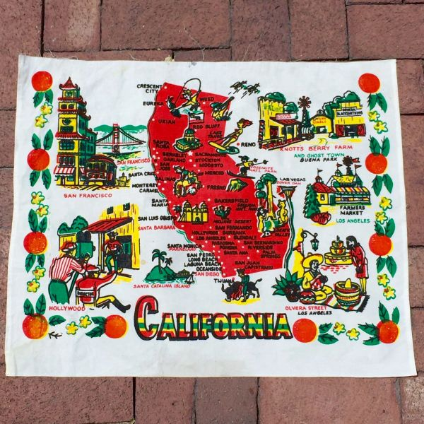 SOLD VINTAGE 1930s CALIFORNIA MAP FABRIC POSTER