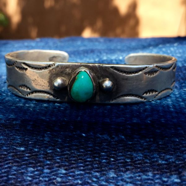 1920s INGOT SILVER STAMPED AMERICAN TURQUOISE CUFF BRACELET