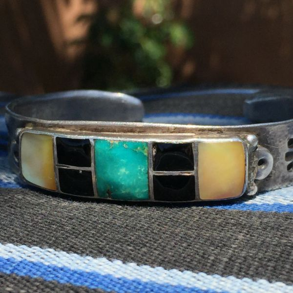 SOLD 1940s AMERICAN INLAY STAMPED INGOT SILVER TURQUOISE SPINY OYSTER JET MENS CUFF BRACELET