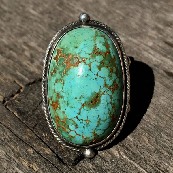 SOLD 1920s HUGE ROBIN'S EGG BLUE GREEN DOMED PERSIAN TURQUOISE RING with WHIRLING LOGS