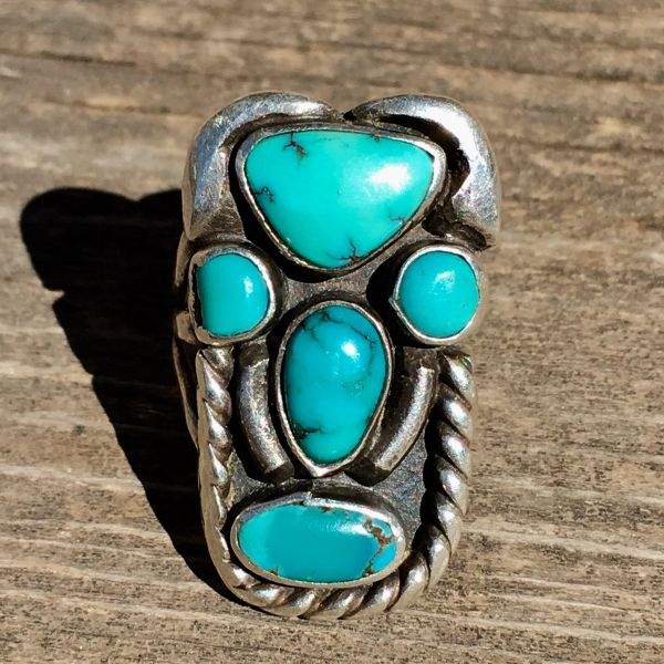SOLD 1920s TURQUOISE SILVER FACE MASK TOTEM KACHINA PINKY RING