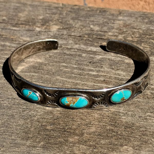 SOLD 1920s SILVER TURQUOISE SUN STAMPED CUFF