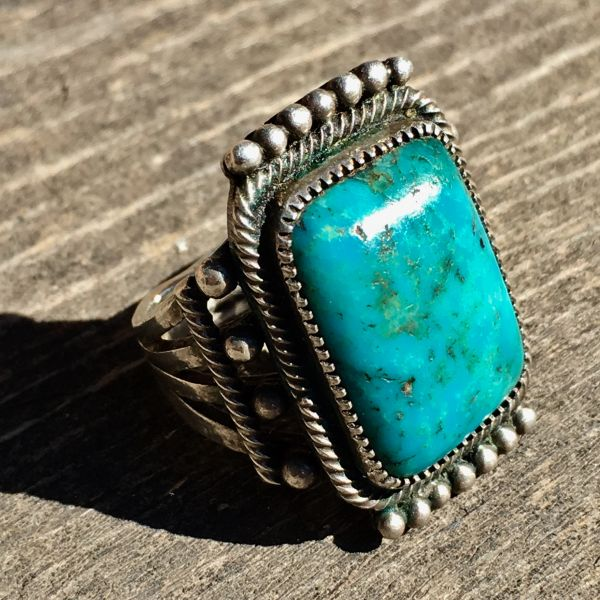 SOLD 1920s EARLIEST BLUE GEM TURQUOISE SILVER RING