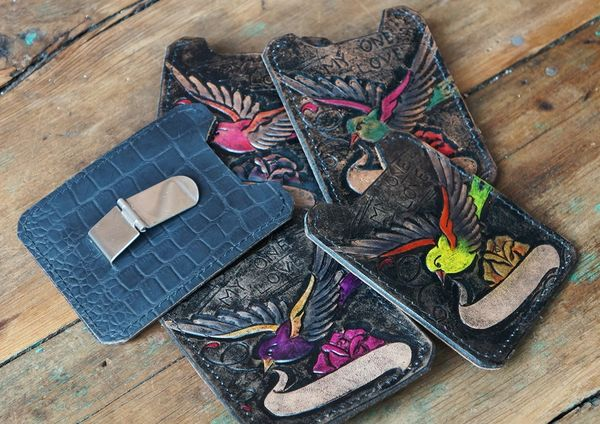 SPARROW WALLET TATTOO HAND TOOLED HAND PAINTED LEATHER