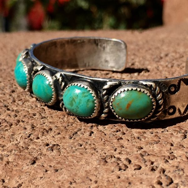 1920's INGOT SILVER WELL WORN 5 GREEN TURQUOISE STONE STAMPED CUFF for SMALL WRISTS