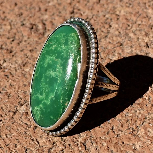 SOLD 1920s BIG OVAL GREEN TURQUOISE PINKY RING