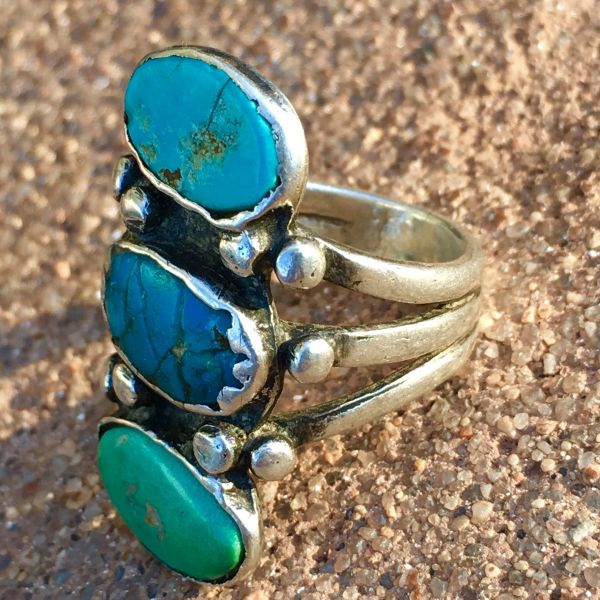 SOLD 1910s LONG INGOT SILVER 3 TURQUOISE COLORS STOPLIGHT RING