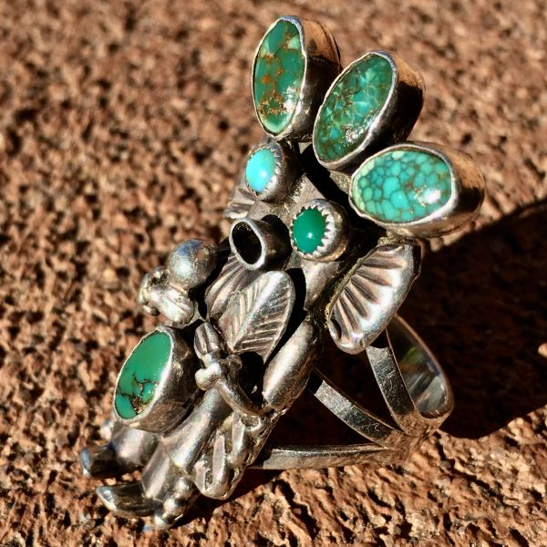 SOLD 1950s SIGNED KACHINA KATSINA SILVER SPIDERWEB TURQUOISE CORN MAIDEN RING