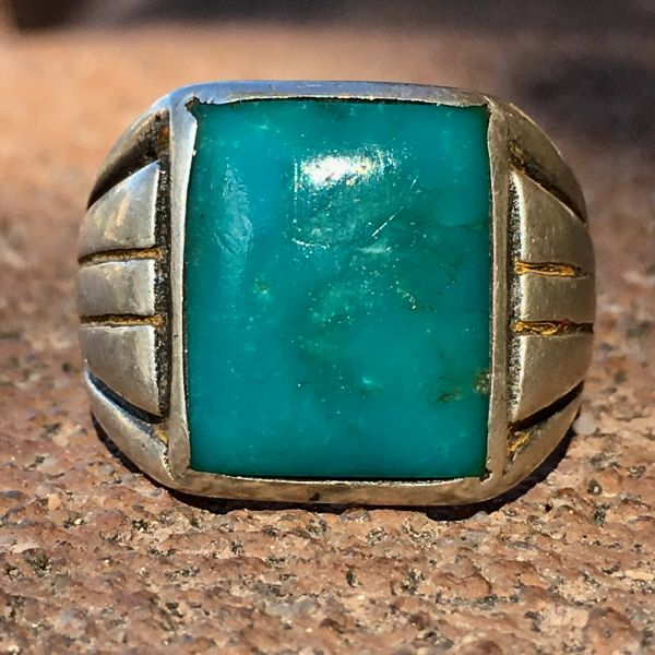 SOLD 1940s BLUE GEM TURQUOISE BIG SILVER RING