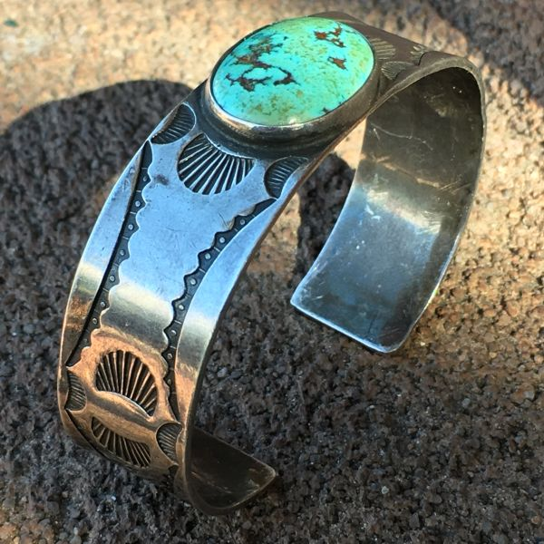 SOLD 1920s STAMPED SILVER OVAL TURQUOISE CUFF BRACELET