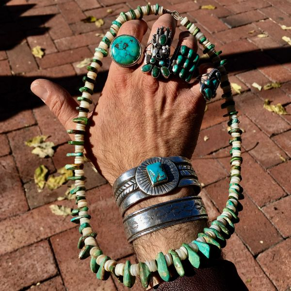 SOLD 1870s RESTRUNG HAND ROLLED PUMP DRILLED SHELL HEISHI & TURQUOISE TAB NECKLACE