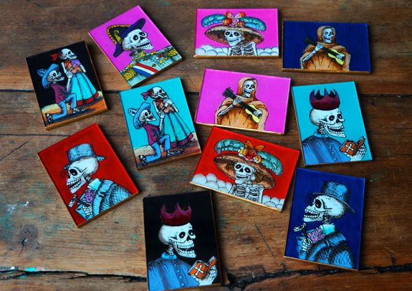 SOLD HAND PAINTED SKELETON MIRRORS